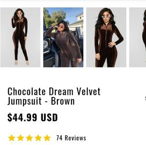 2bf7a030db1a Fashion Nova Pants - Chocolate Dream velvet jumpsuit